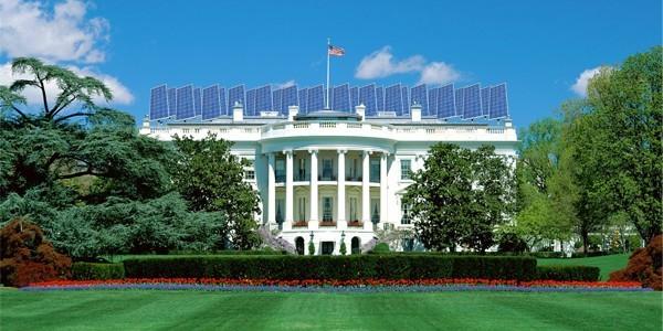 Le Soleil Sourit Aux Panneaux Solaires De La Maison Blanche